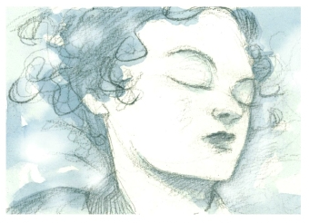 Snow White sleeps.