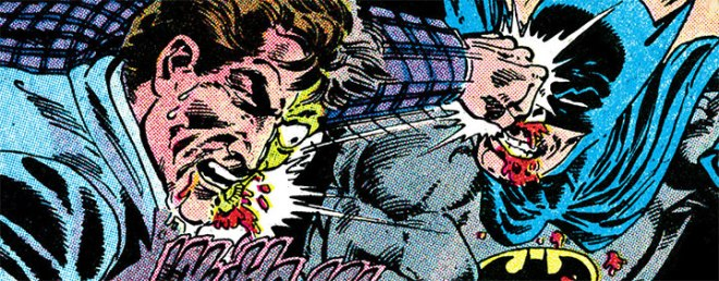 Harvey Two-Face and Batman graphically wail on each other. Art by Pat Broderick and Dick Giordano.