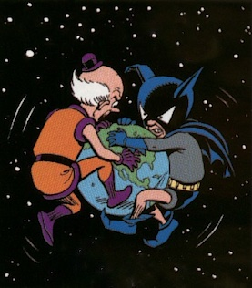 Mxy and Bat-Mite battle for Infinite Earths; art by Dave Gibbons.