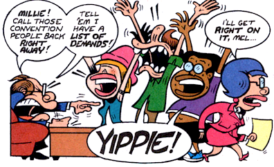 Even Mel's miserable minions get to have some joy. Art by Peter Bagge.